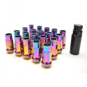 NEO Chrome 48mm Open End Wheel Lug Nuts - 12mm x 1.5 w/Key